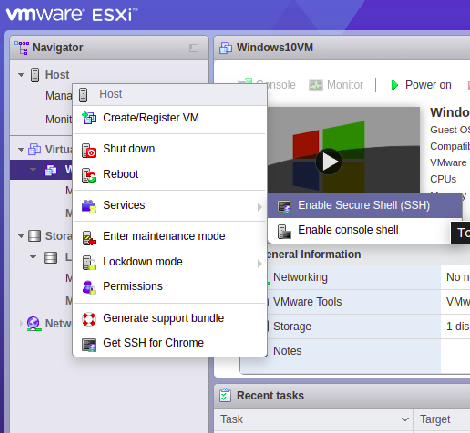 Enabling SSH service in ESXi