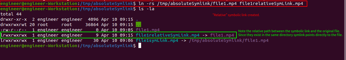 Relative symbolic link giving us a relative file path that will work in a Docker container.