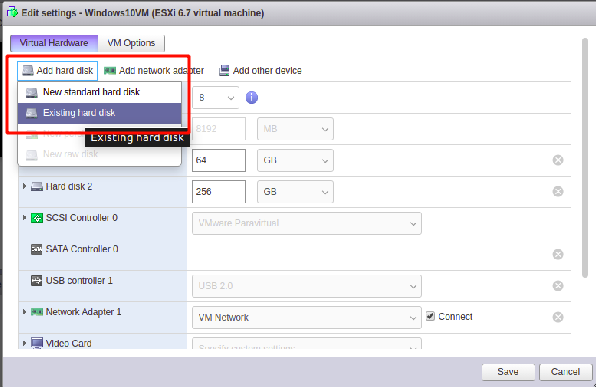 Add existing (new) hard disk in ESXi web client