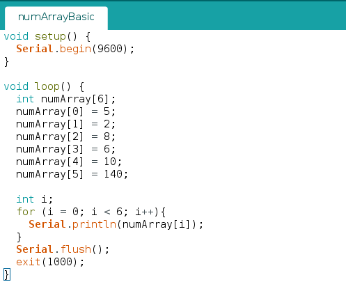 Standard for loop over an array