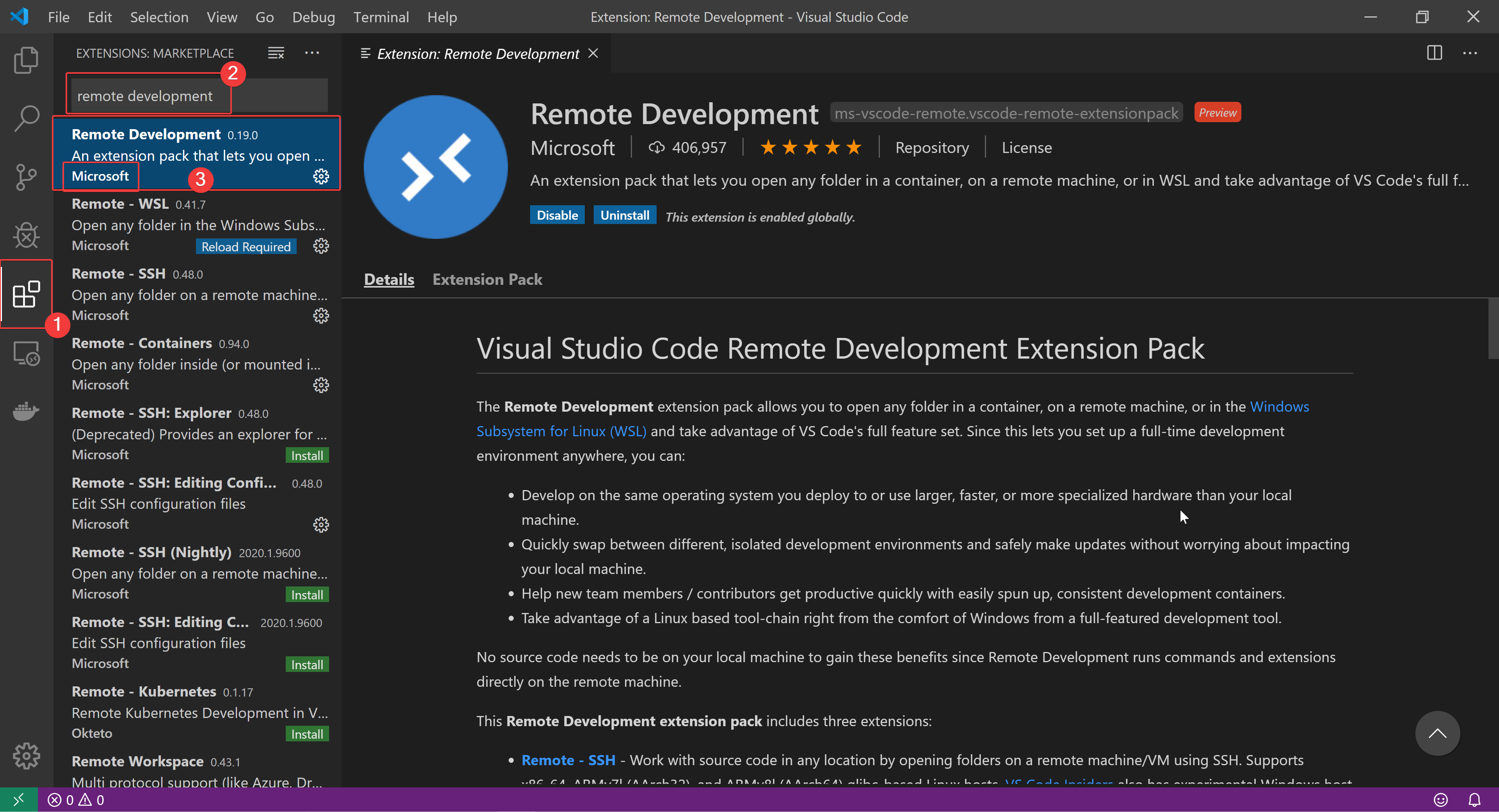"Steps to Install ""Remote Development"" extension from Microsoft in VS Code"