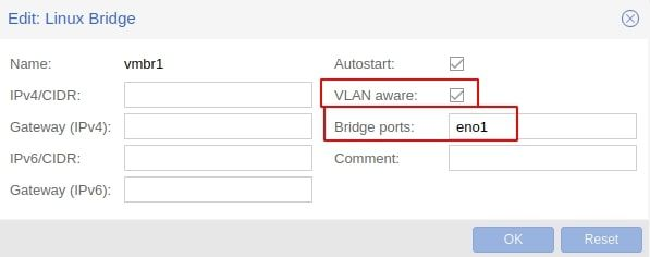 "Creating a new ""VLAN aware"" Linux Bridge in Proxmox"