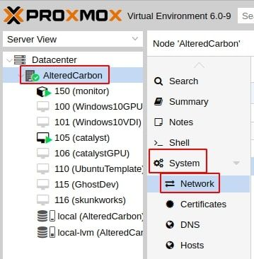 Proxmox Network Settings: Node ('AlteredCarbon') > System > Network