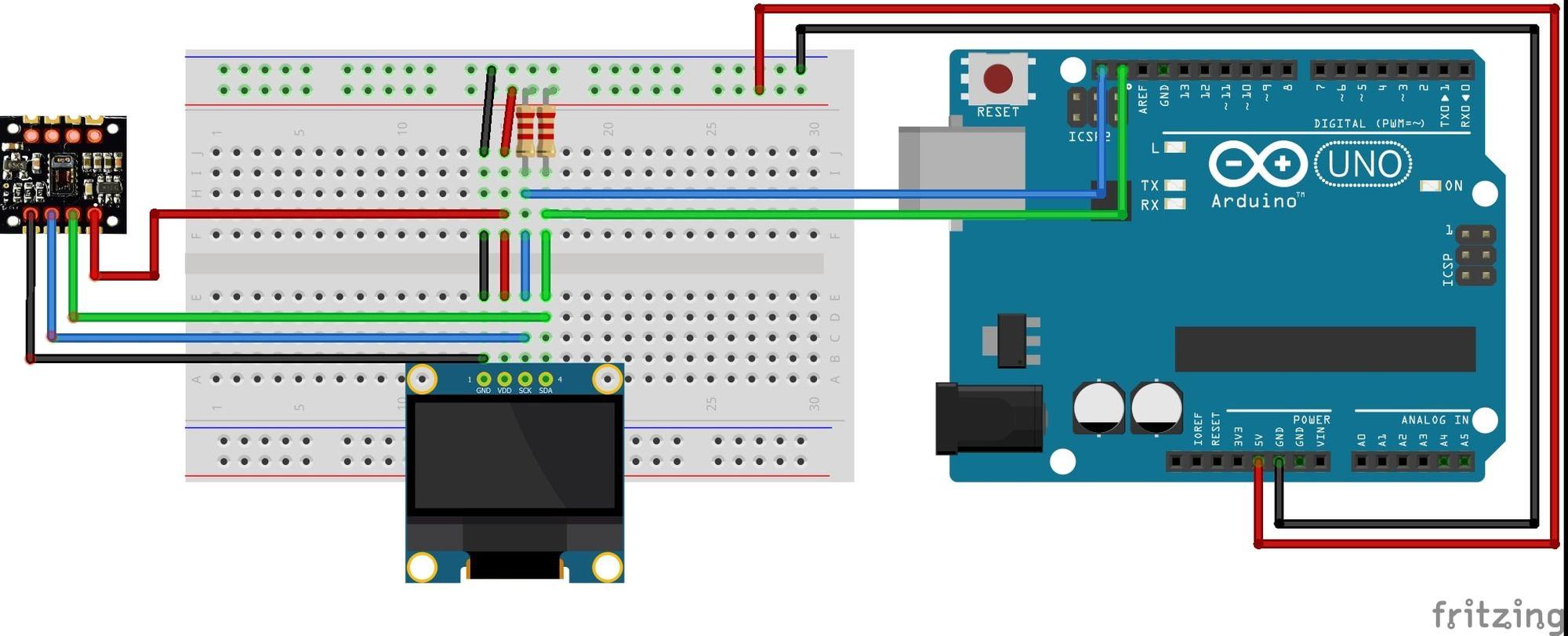 Arduino pulse plethysmograph wiring diagram